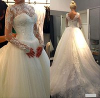 2015 Sexy New Sheer Lace Long Sleeves Backless A- Line Weddin...