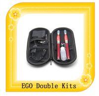 Ego dual Kits de cigarrillo electrónico 650mAh 900mAh 1100mAh EGO doble Kits de inicio de 2 atomizadores 2 baterías ego Doble kits DHL Envío