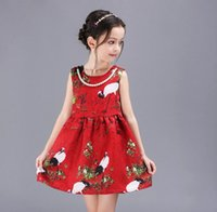 2016 Summer Baby Dresses Elegant Girls Birds Flower Pattern ...