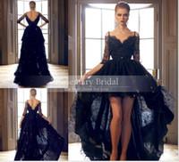 Hi- Lo Prom Dresses Gorgeous Black Lace Evening Dress Half Sl...