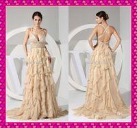 2015 Champagne Chiffon Cascading Ruffles Prom Dance Debutant...