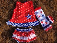 Europe and America baby girls outfits sets patriotic swing t...