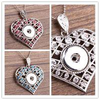 2016 Mode de bricolage Noosa Snaps Bijoux Crystal Silver Round Snaps Bouton Noosa Colliers Pendentif Coeur avec 925 chaîne serpent bon cadeau
