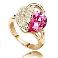 Austria crystal Czech diamond rings 10colors Silver or Gold ...