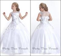 2016 г. Белая принцесса цветок девочки платья для венчания Sheer Jewel шеи с бисером аппликациями Красивые платья для причастия детей BA1497