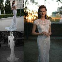 Custom Made Berta Wedding Dresses Appliqued Scoop Capped Sle...