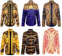 2015 fashion New men brand shirts runway look print long sle...