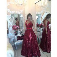 2015 Red Lace Seuqins Evening Dresses Open Back Sleeveless F...