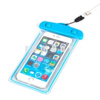 IP68 a prueba de agua noctilucentes caso de la bolsa transparente de la pantalla táctil del teléfono celular superior de la cubierta de la bolsa para Iphone 6plus