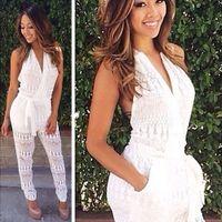 Hot Venda 2015 Estilo Verão Mulheres Sexy Crochet Abalar Halter Backless Jumpsuit Romper Playsuit Partido Branco Bodysuit