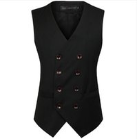 Roupa britânica Estilo Slim Fit Algodão Abotoamento mangas Jacket Colete homens terno dos homens Vest Preto Cinza Negócios Gilet