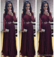 2016 Burgundy Off Shoulder Lace Long Sleeves A Line Chiffon ...