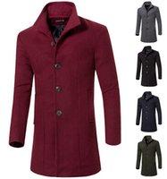 2015 autumn men wool trench coat slim fit long coats trench ...