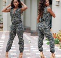 HOT SALE Novas Mulheres Celeb Jumpsuit sem mangas longos skinny bolsos Camouflage Ladies Romper LIVRE ENVIO
