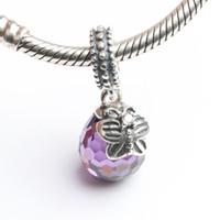 Convient Pandora Bracelets 4.5mm papillon émail charmes dangle Perles Argent Zircon 100% argent sterling 925 Charms pour les bijoux bricolage