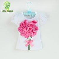 baby girl kids big 3D rosette flower floral short sleeve pet...