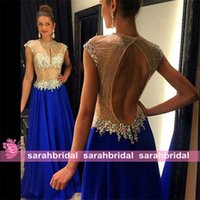 2015 High Neck Prom Dresses with Rhinestone Beaded Open Back...
