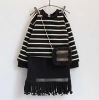 Kids Fashion Girls Sets 2016 Cotton Girls Stripes Fleece T- s...