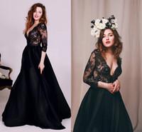 Сексуальное черное вечернее платье с длинным рукавом 3/4 Vintage Lace Погружаясь V шеи линия Беременные платья партии выпускного вечера Формальные вечерняя одежда на заказ