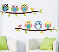 cute cartoon wall sticker The owl and Minions design PVC Chi...