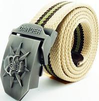 Brand New Canvas Belt for Man Military Danger Skull Belt 21 ...
