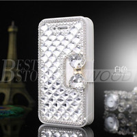 Pour Iphone 6 plus 5 Samsung Galaxy S6 Note 5 Luxe Mode Diamant Cell Phone Case Couverture avec Bling Pearl Titulaire de carte de crédit
