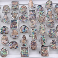 Hot Sell Unique Natural Abalone Shell Ring Geometric Shell N...