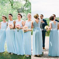 2015 Beach Seaside Sky Blue Bridesmaid Dresses For Bohemian ...