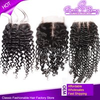100% Indian Virgin Hair Top Lace Closure Curly Free Way Midd...