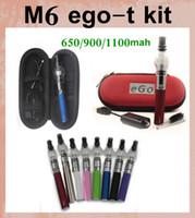 Ego kit de démarrage en verre réservoir de globe pour la cire sèche atomiseur de vapeur d'herbe cigarette électronique M6 EGO-T Zipper batterie de cas Clearomizer E-cig CA0005