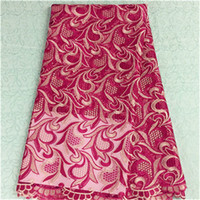 Gorgeous fuchsia the blossom design african lace fabric with...