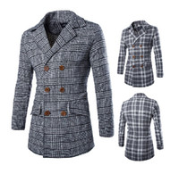 New wool coat for men 2015 autumn casual slim fit long sleev...