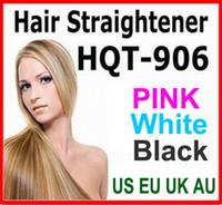 Выпрямитель для волос Flat Iron HQT-906 Щипцы для укладки волос для выпрямления Щетка для укладки волос Инструмент гребень с ЖК-черный белый розовый EU США Великобритания AU штекером