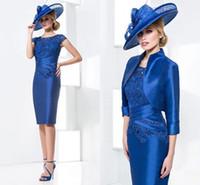 Royal Blue Lace Satin Mother Dresses 2015 Sheer Cap Sleeves ...
