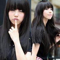 3 Цвет Стильная Леди 65-80cm черный / светло-коричневый / темно-коричневый длинный прямой синтетический человеческий фронт кружева парик волосы с челкой