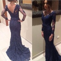 Navy Blue Mother' s Dresses with Sheer Illusion Long Sle...