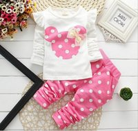 Minnie Mouse Girls Baby Cartoon 2pcs Suits Sets Long Sleeve ...