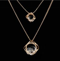 Cube Embedded Crystal Necklace Pendant Crystal in the Box Go...