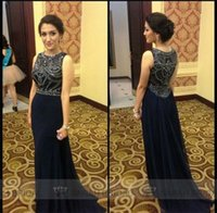 Exquisite Dark Navy Prom Dresses Sheer Crew Neck Sleeveless ...