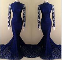 Royal Blue Mermaid шнурка высокого шеи длинным рукавом платья выпускного вечера вечера платья Гламурные знаменитости поезда суда осень зима элегантные вечерние платья