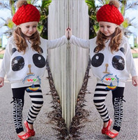 Girls Outfits Adorable Panda Casual Suits Long Sleeve Sequin...