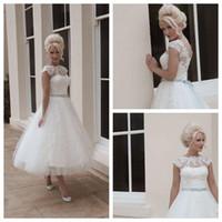 Дом Mooshki Свадебные платья Короткие Бич бальное Scalloped чай Длина Белый Тюль блокированного лук Кнопка Свадебные платья