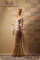 Скромный 2015 арабские платья с длинным рукавом Вечерние платья Эли цветы из бисера Пром платья Красной дорожки Вечерние платья
