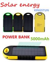 5000mAh Портативный 2 порта USB Solar Power Bank зарядное устройство Внешняя батарея резервного копирования с розничным Box для iPhone IPad Samsung Мобильный телефон bank01