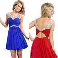 Royal Blue Red Yellow Sheer Crew Neck Crystal Cocktail Dress...