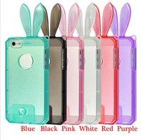 3D Cartoon Rabbit Ears Crystal Transparent Soft TPU Case Cov...