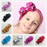 Children' s Bronzing elastic cloth Bow Headband Girl Hai...