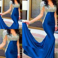 Royal Blue Evening Dresses Mermaid formal with Long sleeves ...