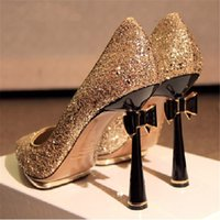 2016 Bling Bling Wedding Shoes Sequined Pumps High Heels Poi...