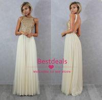 2015 Bling Sequins Chiffon Bridesmaid Dresses Crew Sleeveles...
